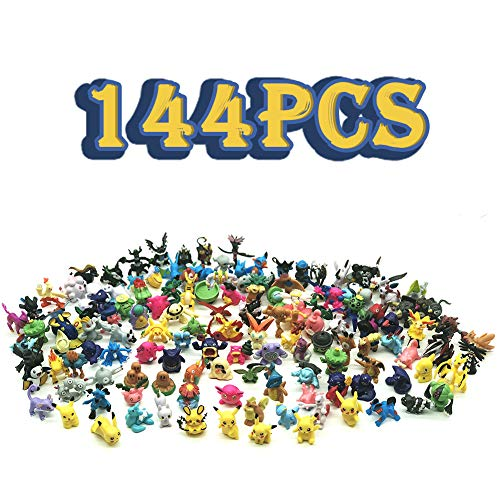 Anime Figures, Action Figures, 144 Mini Figures Toy for Kids, Party Favors Birthday Gift Educational Toy Family Fun Gift, Randomly Plastic Monster Figures Mini Size Gift, 0.8-1.2-inch, 144-Piece