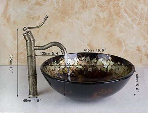 GOWE Hand Painted Glassic Glass Round Bathroom Art Washbasin Tempered Glass Vessel Sink With Antique Brass Faucet Set 0