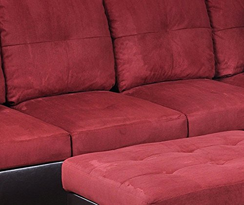 Beverly Furniture 3 Piece Faux Leather Upholstery Left-facing Sectional Sofa Set with Ottoman, Red, NA