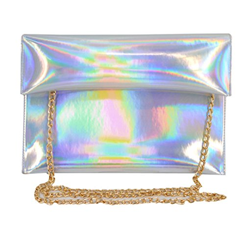 Monique Women Glitter Holographic Handbag Small Clutch Mini Envelope Bag Chain Cross-body Satchel Shoulder Bag 00063 Silver