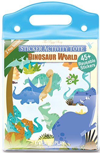 Sticker Activity Tote (The Piggy Story 'Dinosaur World' Reusable Cling Sticker Activity Tote for Portable Play)