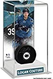 Logan Couture San Jose Sharks Autographed Puck with Deluxe Tall Hockey Puck Case - Fanatics Authentic Certified