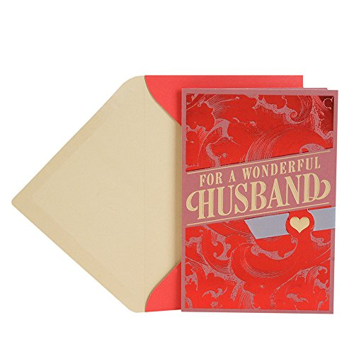 Hallmark Valentine's Day Greeting Card for Husband (Red Brush (Fancy Scroll Heart)