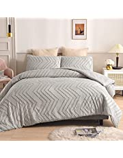 """Tufted Duvet Cover Queen Size(90x90""""), Zigzag Textured Boho Bedding Comforter Cover Set, Lightweight & Ultra Soft, with Zipper Closure & Ties"""