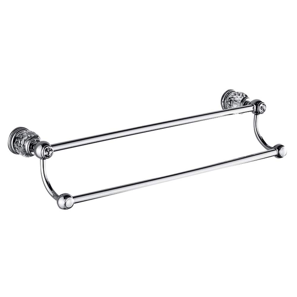 Crystalbang White Crystal Chrome Finish Solid Brass Bathroom Accessories Set (Double Towel bar)