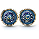 Zodiac Circle Earrings , Zodiac Circle Ear Studs Zodiac Circle Earrings Jewelry Zodiac Sign Ear Studs , Constellation Jewelry