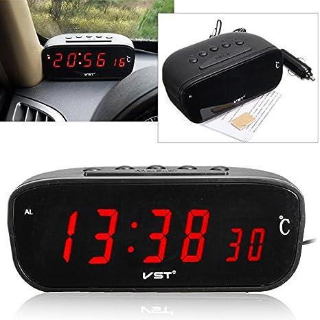 EsportsMJJ 3 En 1 12V/24V Led Coche Reloj De Alarma Digital Termómetro Medidor De Temperatura: Amazon.es: Hogar