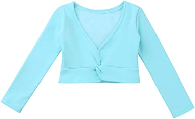 Girls Kids Ballet Gymnastics Dance Cotton Crossover Cardigan Wrap Over Sweaters