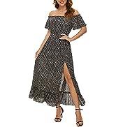 FFever Long Summer Dresses for Women - Off-Shoulder Maxi Dress, Ruffle Short Sleeve Sexy Party Dress