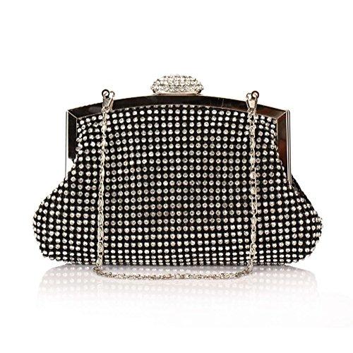 sallyshiny luxe Sacs cristal main sac d'embrayage paillettes noir femmes à de mariage Prom Parti en sac strass soirée a5axrUwIq