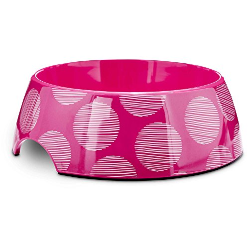 - Bowlmates Pink Polka Dot Single Dog Bowl Base, 7 Cups, Large