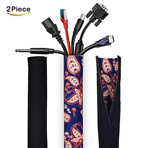anbellar 51' de alambre de gestión de cables manga (caja): TV, cables de computadora y todos los electrodomésticos,...