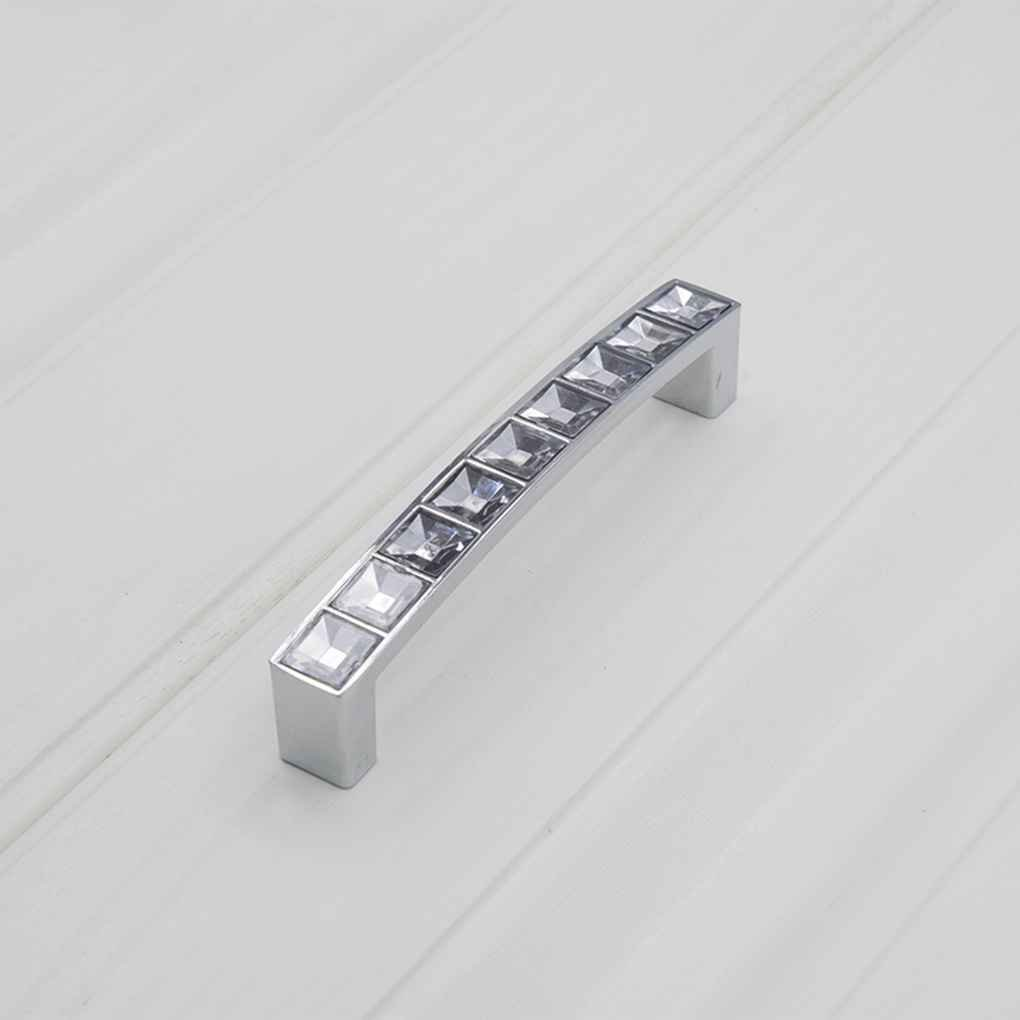 Republe Zinc Alloy Crystal U Shape Cabinet Cupboard Long Handle Wardrobe Drawer Closet Door Pull Knob with Screw