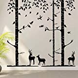 Birch Tree Wall Decals Nursery Decal Vinyl Wall Decal for Bedrooms or Any Room with Birds - Terrific Forest(9 feet, black)