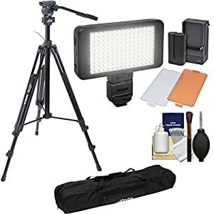 "Davis & Sanford 78"" ProVista 18 Heavy Duty Video Tripod with FM18 Fluid Head & Case + LED Light Kit + Cleaning Kit"