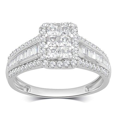 1.00 CTTW Diamond Engagement Ring in 10K White Gold (1.00cttw Diamond)
