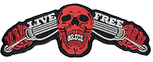 Red Riding Hood Diy Costumes (Papapatch LIVE FREE OR DIE Red Skull Ghost Biker Rider Punk Chopper Jacket Vest Costume Sewing on Iron on Embroidered Applique Patch (IRON-LIVE-FREE-RED-SKULL))
