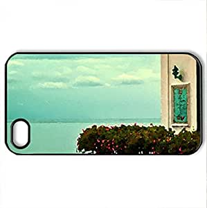 Balcony in Amalfi Italy - Case Cover for iPhone 4 and 4s (Houses Series, Watercolor style, Black)