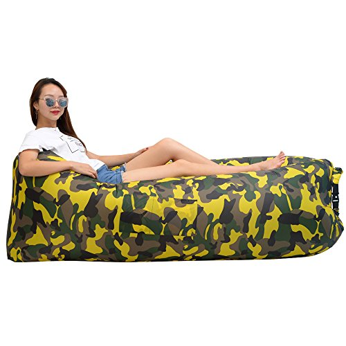 iZEEKER Inflatable Lounger Wind Breezy Pouch Couch Windbed Cloud Air Chair Sofa Bed Lazy Bag Been Sleeping Sand Beach Laybag Blow Up Original Lamzac Fast Hangout Outdoor Hammock Lounge Adults Kids