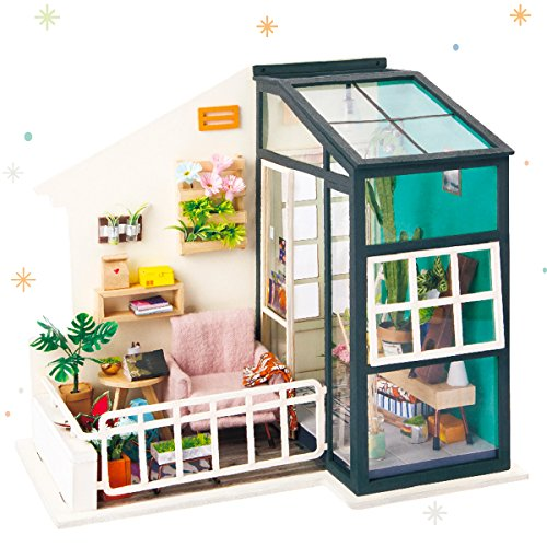 ROBOTIME DIY House Decor with Accessories and Furniture Miniature Doll House Wooden Craft Kits Best Birthday Gifts for Women and Girls (Balcony Daydreaming)
