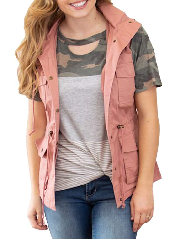 Farktop Women's Lightweight Sleeveless Military Stretchy Drawstring Jacket Vest with Zipper (X-Large, Pink) by Farktop