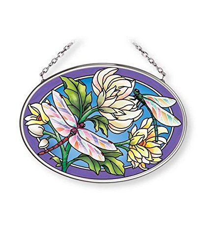 Dragonflies Sun Catcher AMIA Hand Painted Glass 4 1/2 Inch by 3 1/4 Inch Oval by Amia (Image #1)