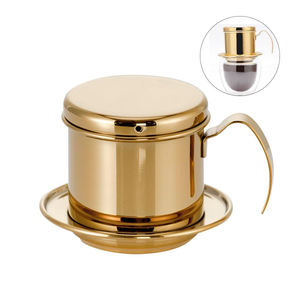 Aolvo Vietnamese Coffee Dripper, Stainless Steel Viet Coffee Dripper Resuable Smart One Cup Coffee Dripper Filter for Home Kitchen Office Camping and Travelling
