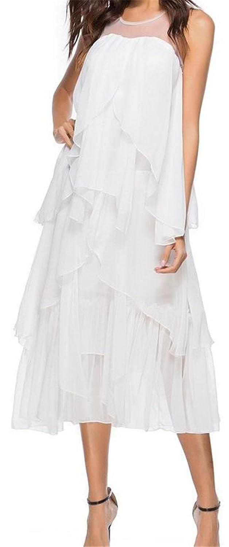 ba643a6d357e5 Pivaconis Womens Sexy Boho Mesh Irregular Ruffled Swing Pleated Dress at  Amazon Women s Clothing store