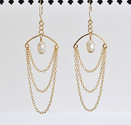 Freshwater Pearl Earrings - 14k Gold Filled Chandelier Earrings - Exotic Chandeliers - Elegant Woman's Jewelry