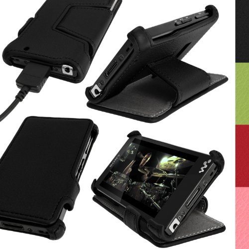 iGadgitz Black PU Leather Flip Case Cover for Sony Walkman NWZ-F880 NWZ-F886 NWZ-F887 F-Series Video MP3 Player with Viewing Stand + Screen ()