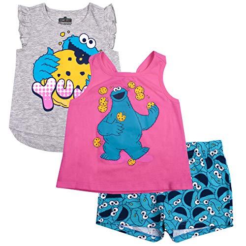 Sesame Street Girls 3PC Shirts and Short Set: Elmo & Cookie Monster -