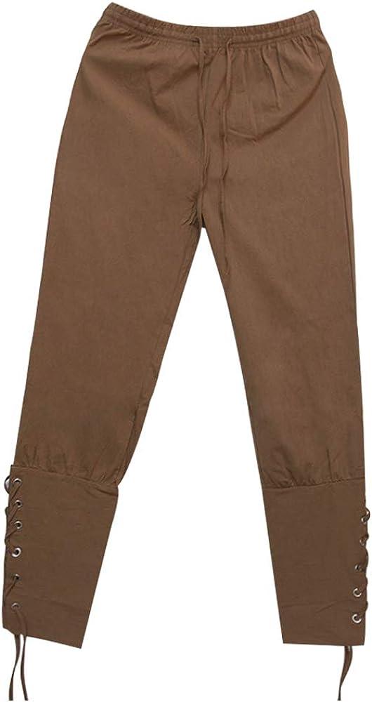 Cintura el/ástica Color arouel Pantalones Medievales amplios para Hombre Dihope Harem dise/ño de Pirata Retro