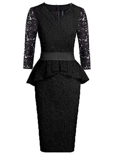 Women's Dresses Lace Peplum 3 Quarters Long Sleeve Crew Neck Midi Gown Black US16-18