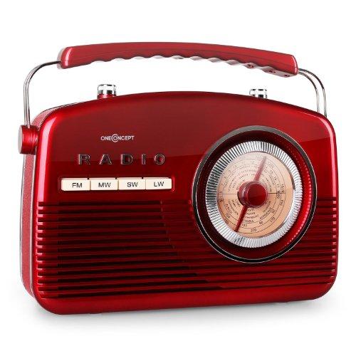 oneConcept NR-12 tragbares Retro Kofferradio Vintage Küchenradio analog (UKW-Radio, analog, 50er Jahre Retro-Look, Batterie- und Netz-Betrieb) rot
