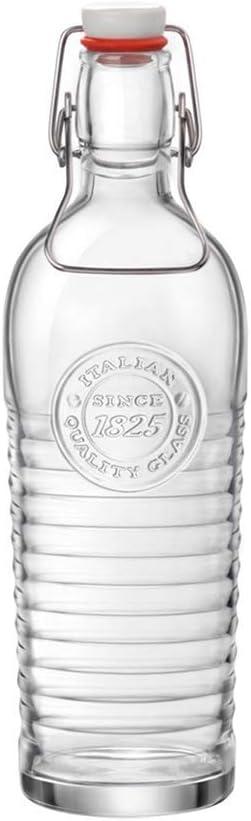 Bormioli Rocco 0035022 Botella 1.2L Transparente Jarra, cántaro y Botella - jarras, cántaros y Botellas (Botella, Transparente, Vidrio, Alrededor, Tapa abatible, Italia)