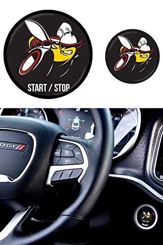 Scat Pack Starter Button Decal Overlay compatible with 2015-2019 Dodge Charger/Challenger | Domed SRT Style Start Stop Sticker Emblem | Push to Start Button Badge Cover | Scatpack Accessories -