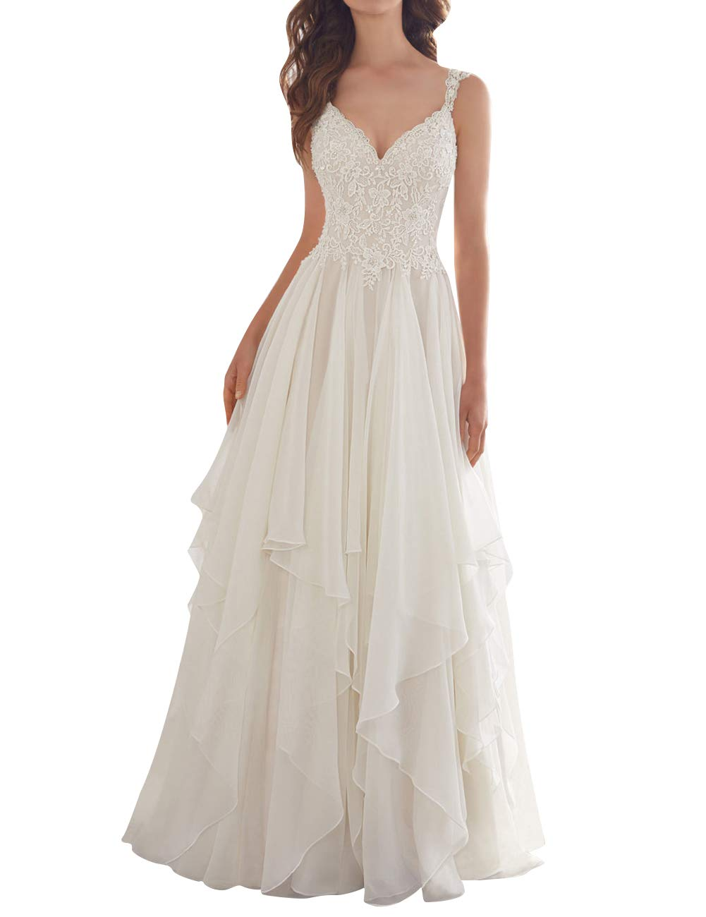TOPGEE Womens Wedding Dress Bride Lace Applique Dress V Neck Straps Ball Gowns