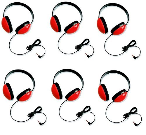 Califone Red Stereo Headphone - Califone 2800-RD Listening First Headphones in Red (Set of 6)