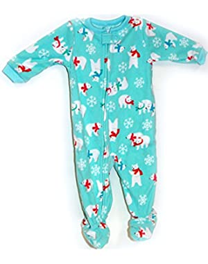 Carter's Baby Polar Bears Microfleece 1 Piece Footed Sleeper Pajamas