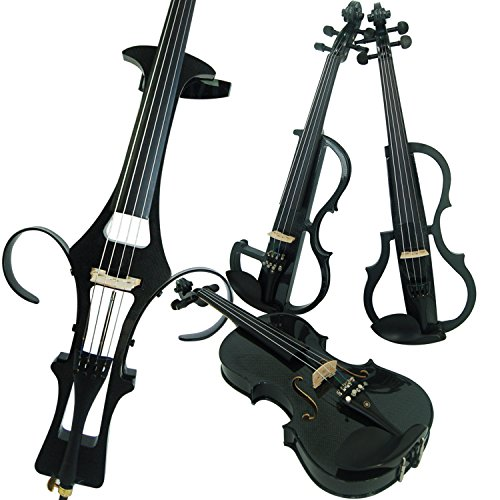 Leeche Premium Solid Wood Electric Violin Full Size 4/4 Advanced 3-Band-EQ Electric Silent Carbon Fiber Violin Kit With Case,Bow,Rosin,headphones,Shoulder Rest,Strings,Finger Guide by leeche