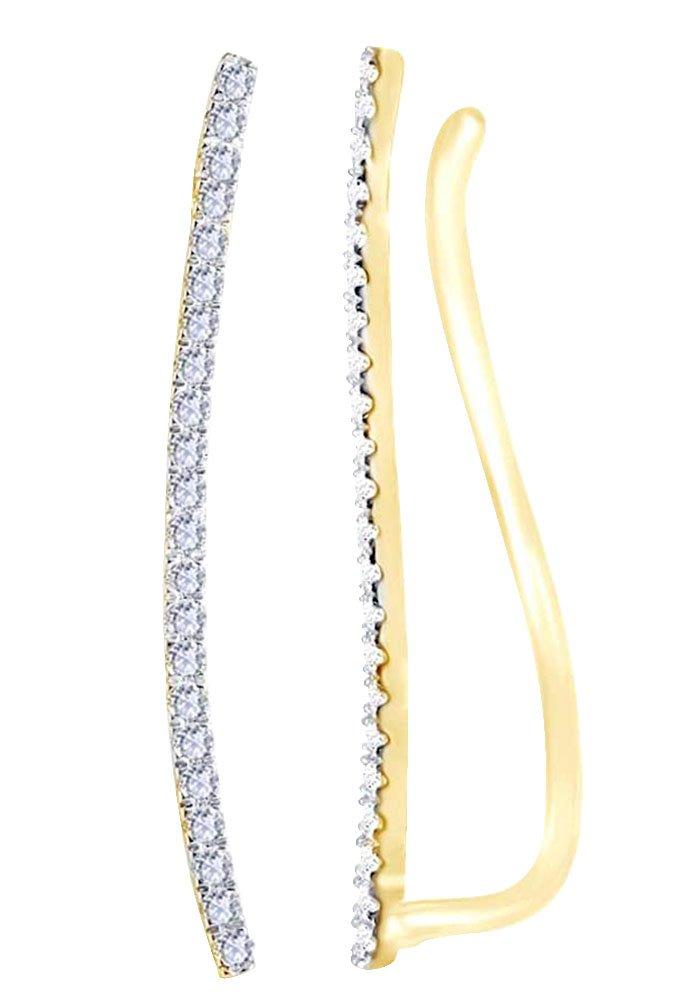 14K Yellow Gold 0.33 cttw White Natural Diamond Climber Ear Crawler Earrings