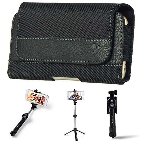 - James Classic Horizontal Nylon/Leather Holster Belt Clip/Loop Case for Samsung Galaxy S10+ / S10 / S10e / S9 / S8 Smartphones : (+ Wireless Tripod Selfie Stick)