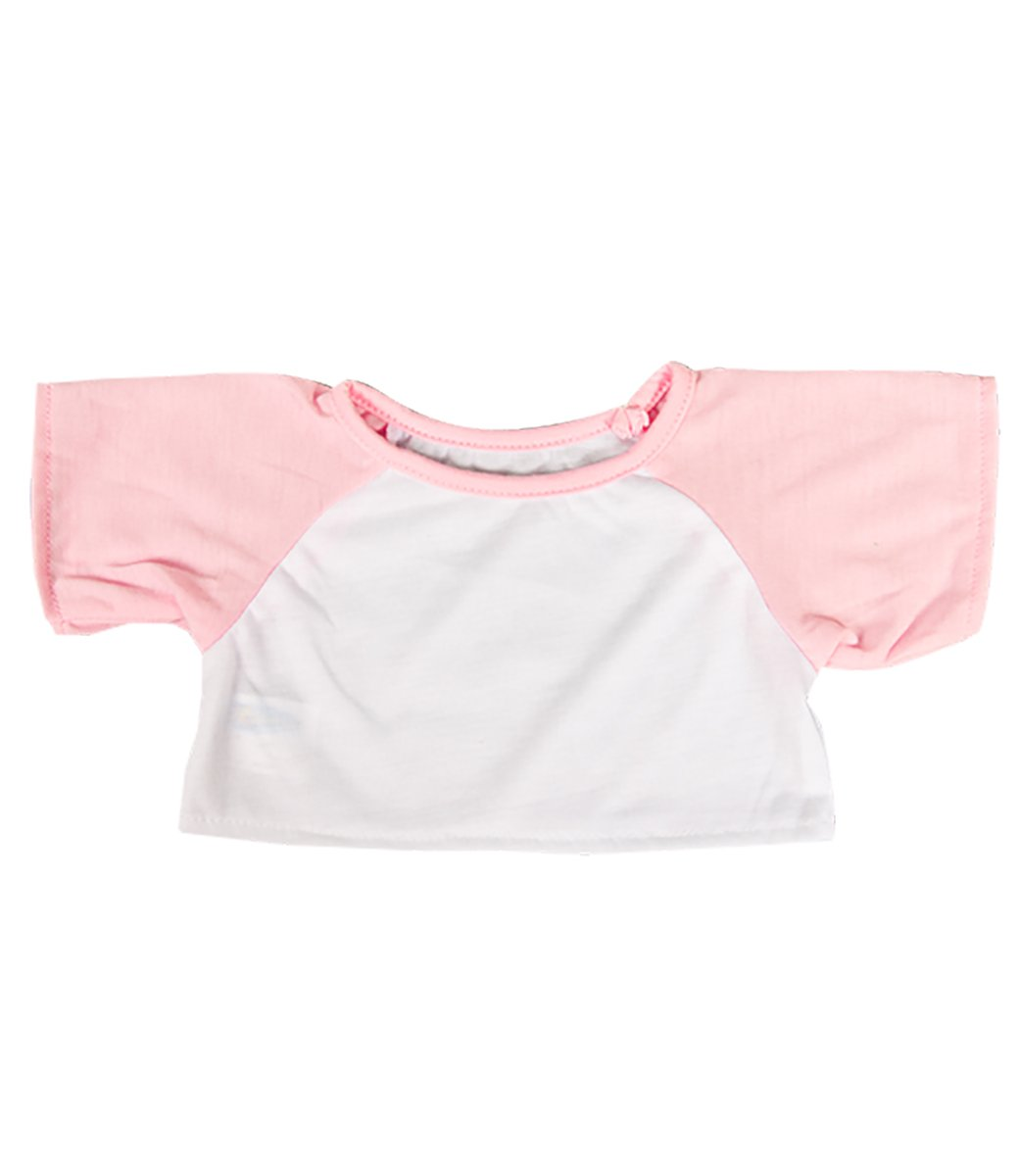 Stuffems Toy Shop White Tee w// Light Pink Sleeves Outfit Teddy Bear Clothes Fit 14-18 Build-a-Bear Vermont Teddy Bears and Make Your Teddy Mountain