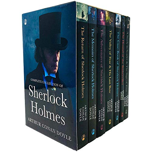 Sherlock Holmes Series Complete Collection 7 Books Set by Arthur Conan Doyle (Return,Memories,Adventures,Valley of Fear & His Last Bow,Case-Book,Hound of Baskerville & Study in Scarlet & Sign of Four)