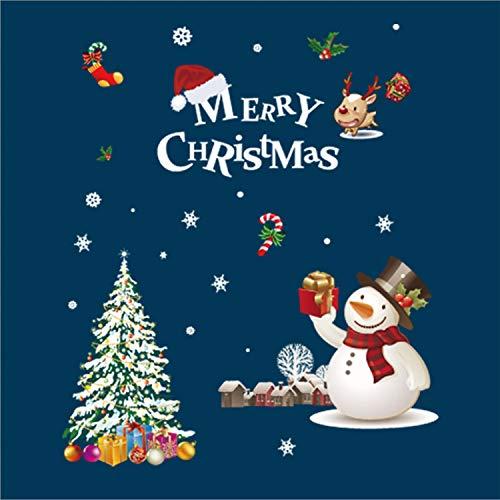 Gusatanhati Merry Christmas Window Sticker Xmas Tree Window Clings Snowman Window Decals Elk Wall Sticker Decals Christmas Ornament Supplies for Showcase