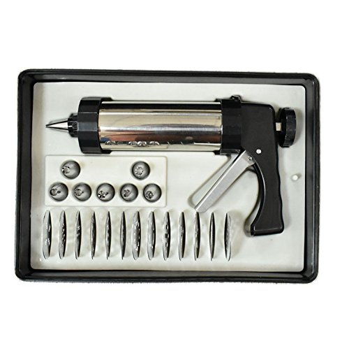 YIYATOO Stainless Steel Biscuit Cookie Press Gun,13 Stainless Steel Cookie Discs and 8 Icing Tips by Yiyatoo (Image #1)