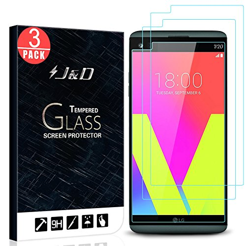 J&D Compatible for 3-Pack LG V20 Glass Screen Protector, [Tempered Glass] [Not Full Coverage] HD Clear Ballistic Glass Screen Protector for LG V20 Screen Protector