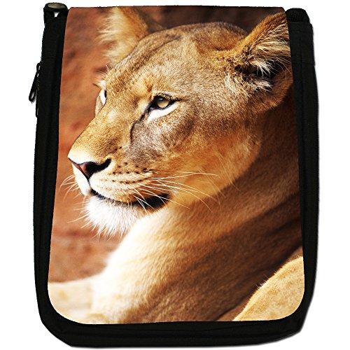 Bag Big Lioness Lion Size Canvas Cat Up Medium Close African Shoulder Black A Of 50wqTxBO