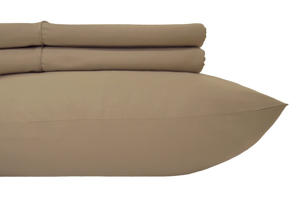 Royal's Solid Taupe 300-Thread-Count 2pc / Pair Standard / Queen Size 20'' x 30'' Pillowcases 100% Cotton, Sateen, Pillow Cases
