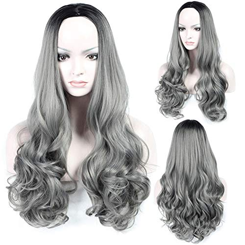 (Long Wave Wigs for Women Middle Part Wigs Dark Roots Full Machine Synthetic Role Playing Wigs+Free Wig Cap (28 Inches, Linen ash))